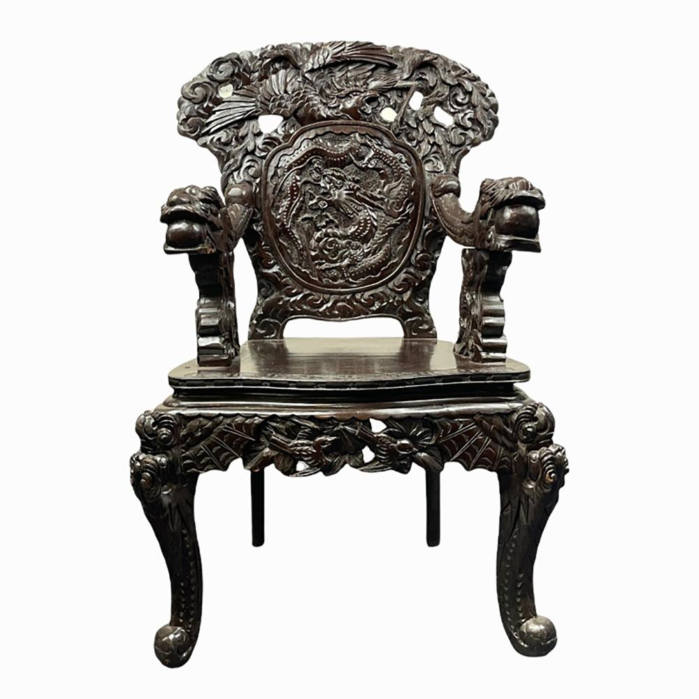 Chinese Carved Dragon Throne Chair
