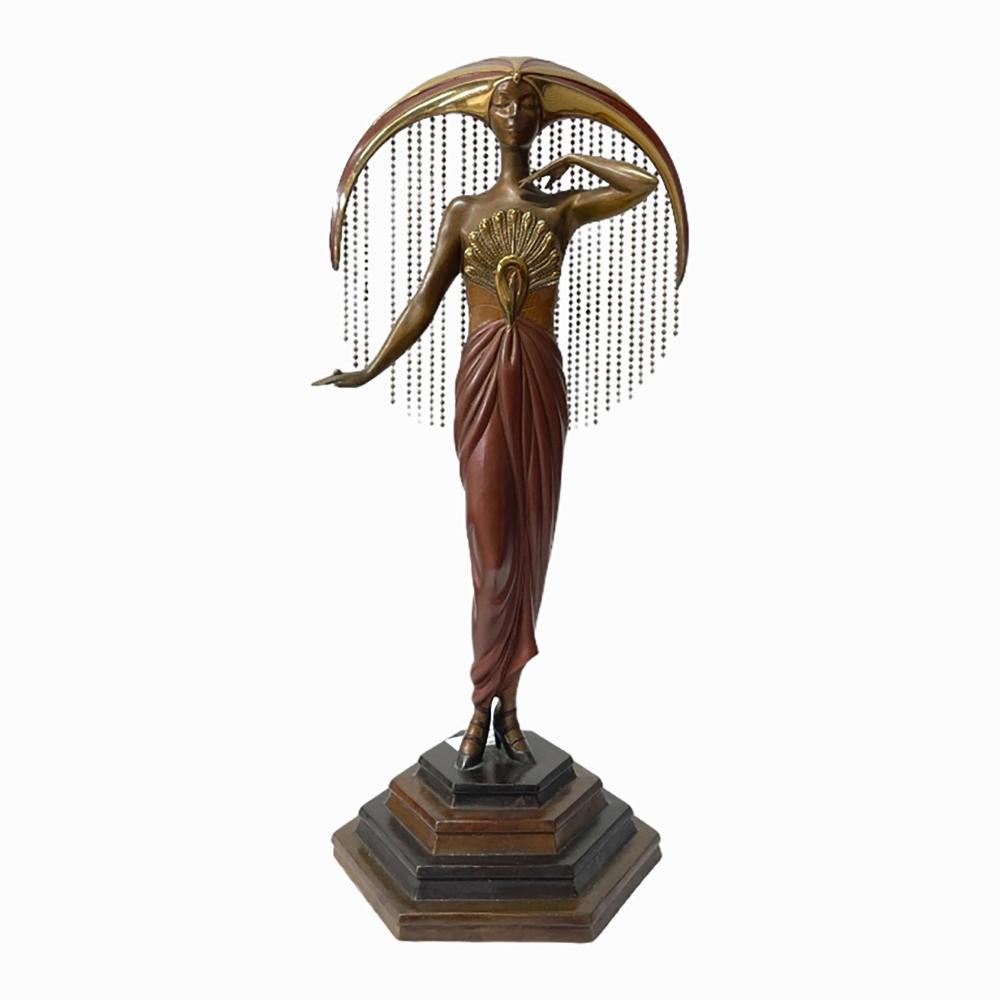 """Erte """"Le Soleil"""" Painted Bronze Sculpture 2/300"""