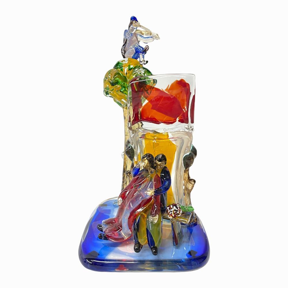 "Walter Furlan ""Amanti Omaggio a Chagall"" Sculpture"