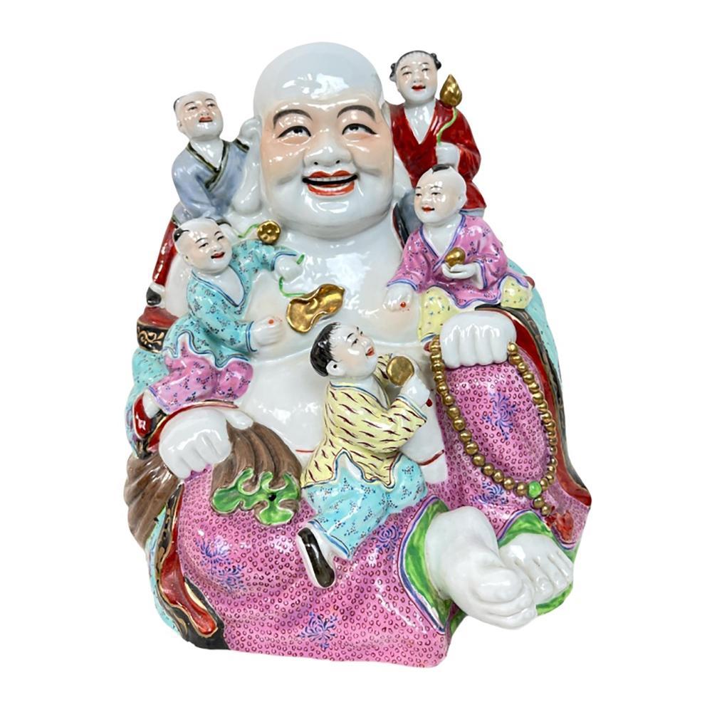 Qing Period Chinese Famille Rose Hotei Buddha Grou