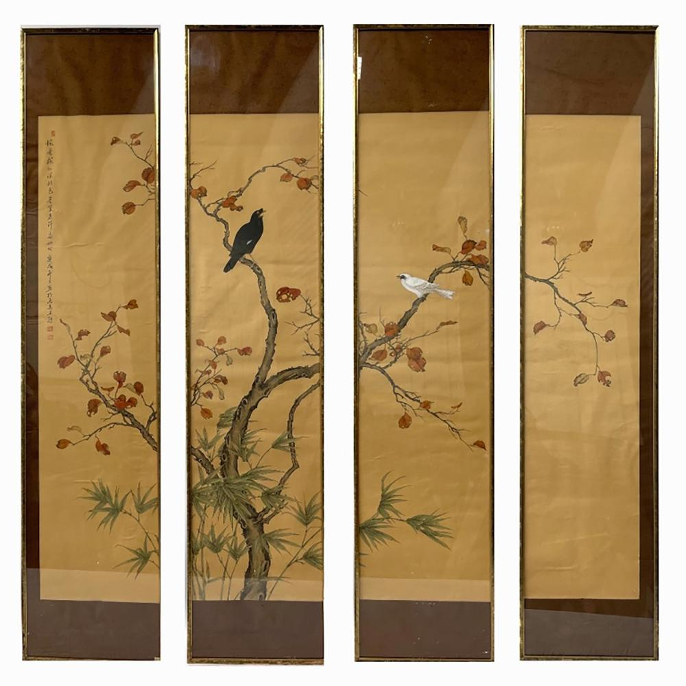 Chinese 4 Panel Watercolor On Silk Of Birds