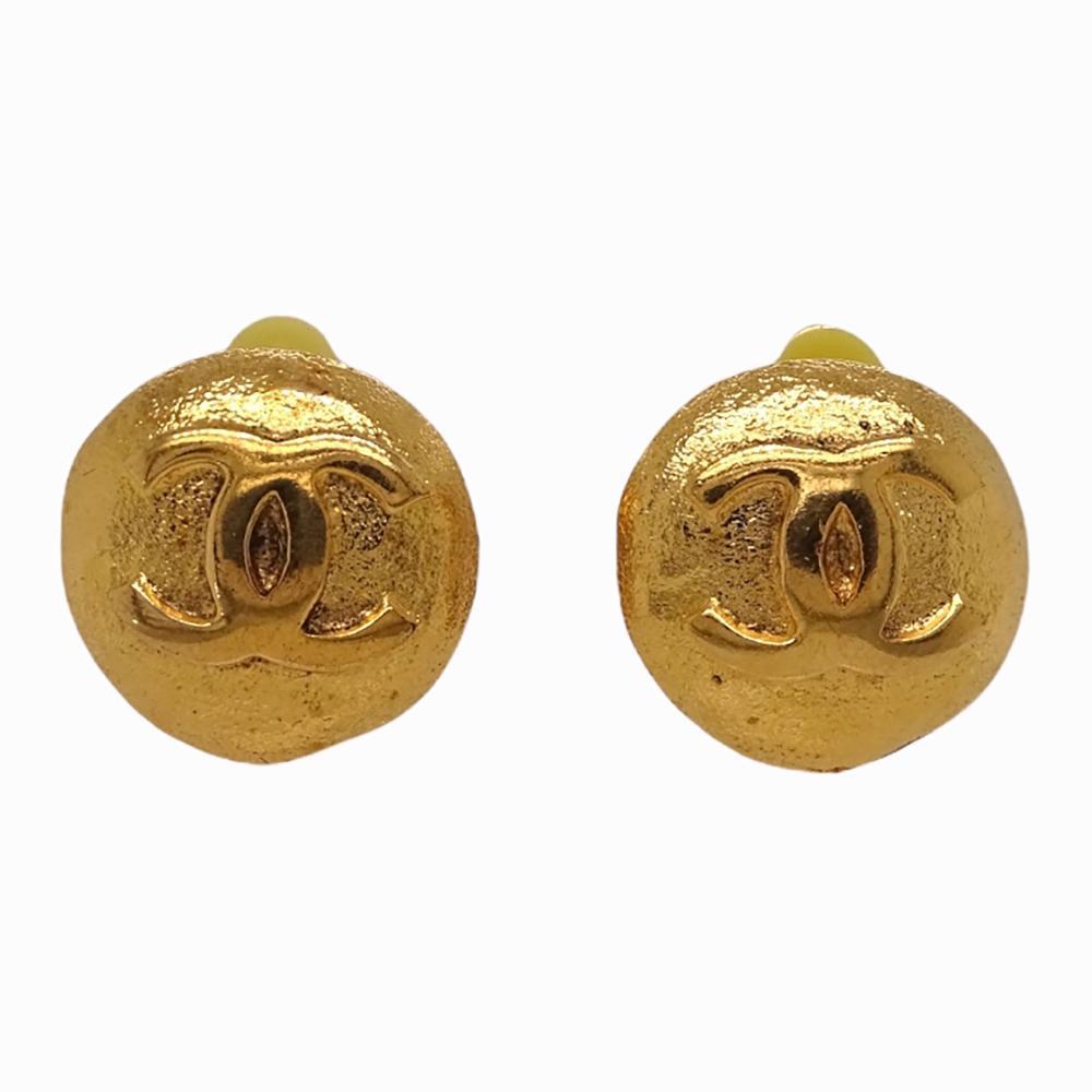 Pair of Chanel Gold Tone Monogram Disc Earrings