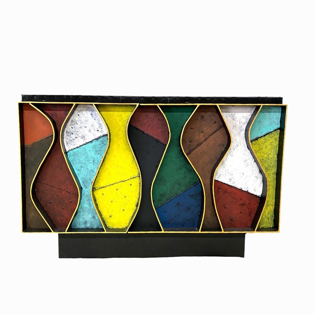 """Paul Evans Style """"Wavy Front"""" Cabinet."""