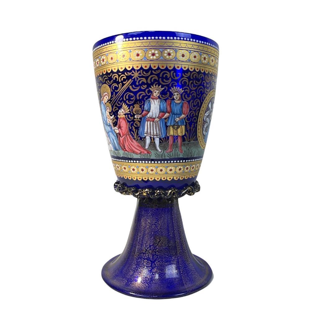 Venetian Cobalt Glass Religious Painted Chalice