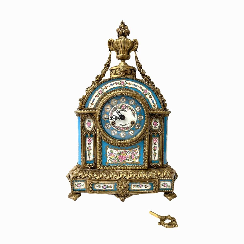 French Sevres Style Franz Hermle Mantel Clock