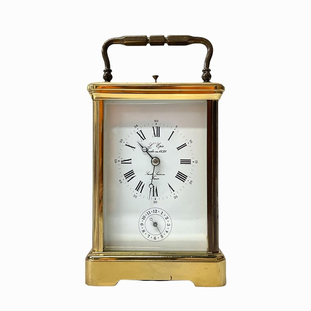 L'Epee French Gilt Brass Case Carriage Alarm Clock