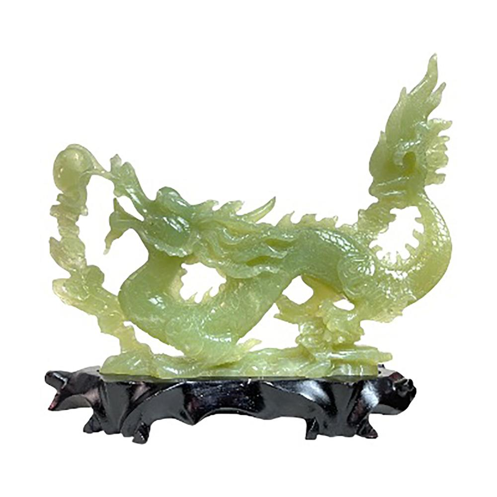 Chinese Serpentine Green Jade Large Dragon On Base