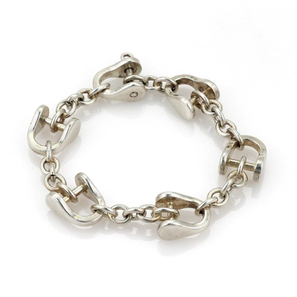 Tiffany Co Vintage Sterling Stirrup Link Bracelet