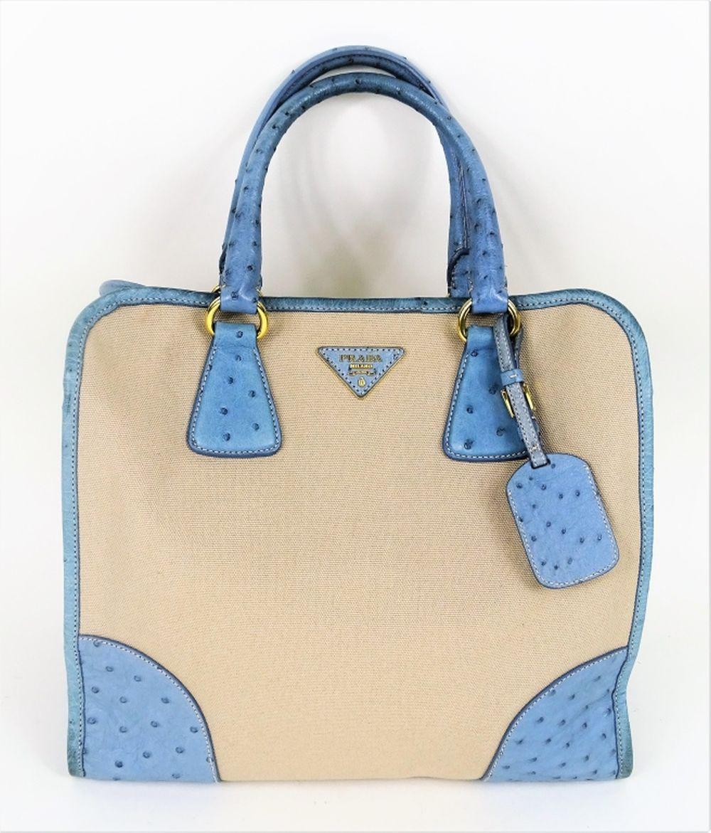 4eff20facf51 Prada Canapa Struzzo Ostrich Canvas Tote Bag