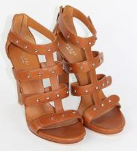 GUCCI BROWN LEATHER HEELS, SIZE 40