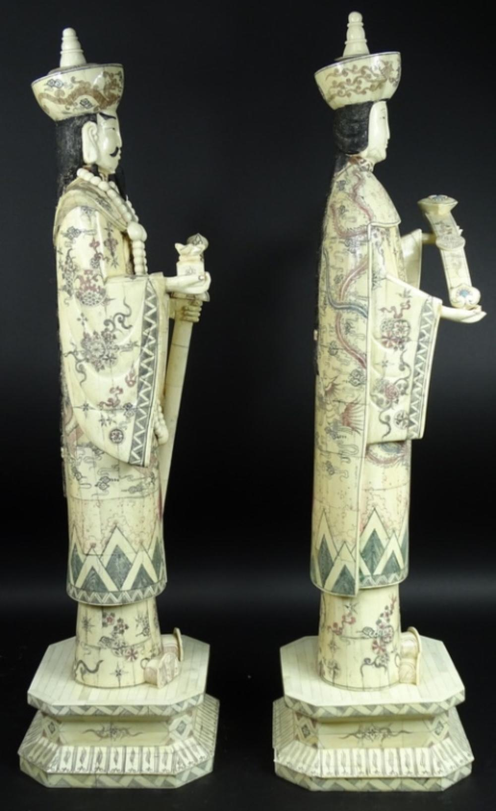 Chinese Carved Bone Emperor Empress Statues