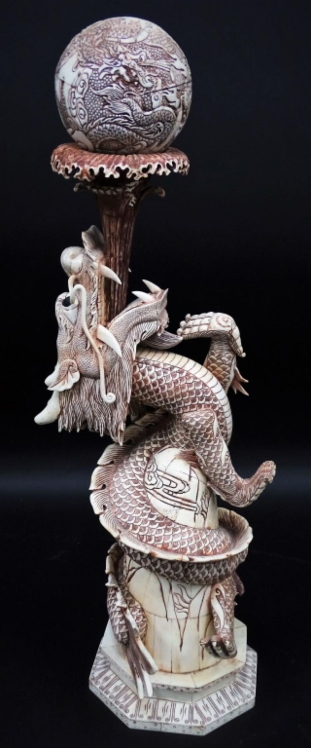 20th C Chinese Carved Bone Dragon Sculpture