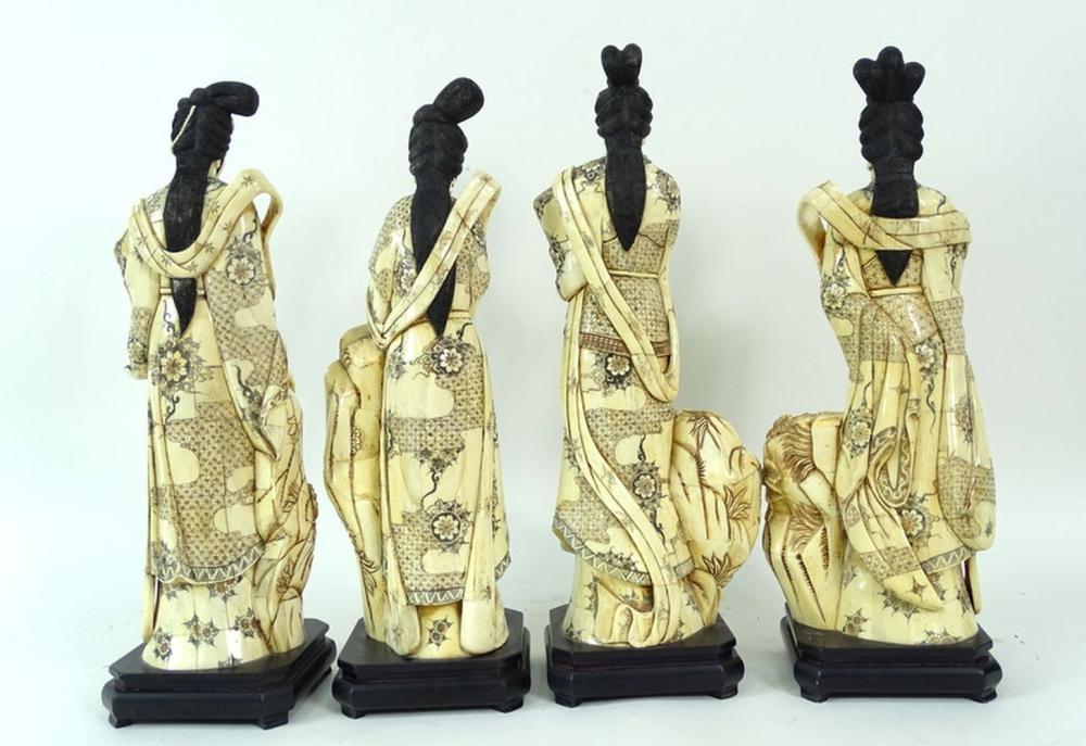 4 Four Chinese Carved Bone Geisha Sculpture