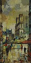 Mid 20th Century Paris School Street Scene. Signed Bige Lower Right. Good to Very Good Condition. Measures 24 Inches by 12 Inches, Frame Measures 31-3/4 Inches by 19-3/4 Inches. Shipping $85.00