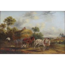 "Georgina Lara, British (fl.1862 - 1871) Oil on canvas ""Bringing In The Hay"""