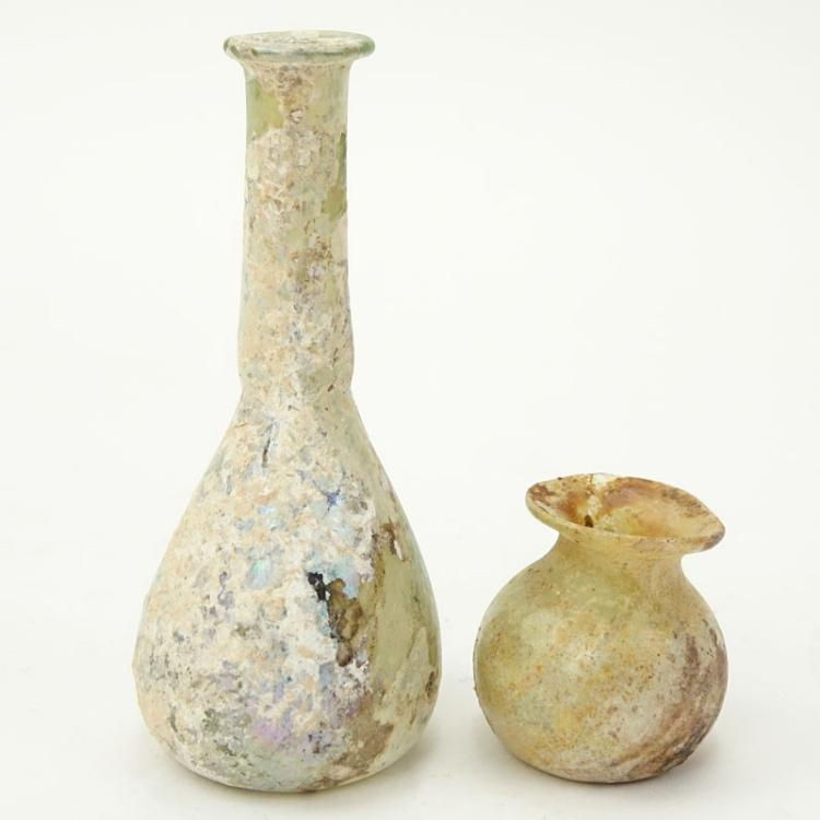 Two 2 Small Ancient Roman Glass Vases