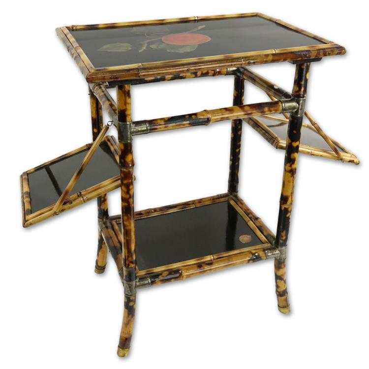 Vintage Lacquered Bamboo Small Table With 2 Fold Up Shelves