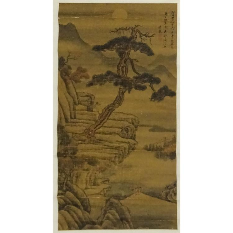 Antique Japanese Scroll: Antique Chinese Hand Painted Scroll On Paper