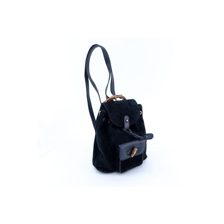 Gucci Black Suede And Leather Bamboo PM Backpack. 956fa32e442c7