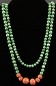 Chinese Beaded Spinach Jade and Coral Necklace. Unsigned. Good to Very Good Condition. Necklace Measures 38-1/2 Inches. Shipping $32.00