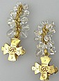 Pair of Chanel Paris France Costume Jewelry Goldtone and Faux Grape Cluster Drop and Clipback Earrings. Signed Chanel, 94-P Chanel Logo and Made in France. Has Original Chanel Box. Very Good Condition. Measures Approximately 2-1/2 Inches Long and
