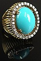 Retro Persian Turquoise and Diamond 18 Karat Yellow Gold Dome Shape Ring. Set in the Center with a High Quality Persian Turquoise Cabochon Measuring 18MM Length 15MM Width. And is Bezel Set with Round Single Cut Diamonds Weighing Approx. 1.25 Carats