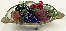 Frosted Glass Bronze Mounted Centerbowl together with Ten (10) Groups of  Kaiser Krystal Colored Grapes or Fruit Clusters. Bowl Measures 4-1/4 Inches Tall and 15-3/4 Inches Diameter. Shipping $100.00