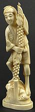 Chinese Carved Ivory Figure of a Man Holding a Beanstalk. Nicely Detailed. Signed with Chinese Characters. Age Lines in the Ivory Otherwise in Very Good Condition. Measures 5 Inches Tall by 1-3/4 Inches Long and 1 Inch Wide. Shipping $26.00 This item