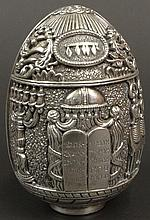 Circa 1997 Silver Judaic Etrog Form with Star of David, Torah and Menorah Decoration. Signed Made in Greece W 672, Patented AG999 and Dated 1997. Good to Very Good Condition. Measures 4-1/2 Inches Tall and 3 Inches Wide. Weight: 25.58 Ounces
