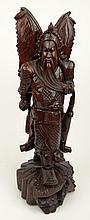 20th Century Japanese Carved Wood Samurai. Unsigned. Splits to Wood Otherwise Good Condition. Measures 22-1/4 Inches Tall and 8 Inches Wide at Base. Shipping $65.00