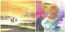 Two (2) 20th Century Chinese School Watercolor, Ink and Color on Paper