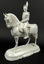 20th Century Nymphenburg Blanc De Chine Porcelain Soldier on Horseback Figural Group. Signed Under Base with Nymphenburg Impressed Shield Mark Logo, and Incised Numbers 535 over 1. Loss to Bottom of Sword or else Good Condition. Measures 12 Inches