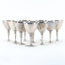 Set of Ten (10) Tiffany & Co. Sterling Silver Wine Glasses.
