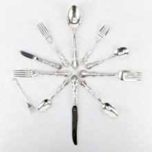 One Hundred Thirty Two (132) Piece Set Gorham Strasbourg Sterling Silver Flatware