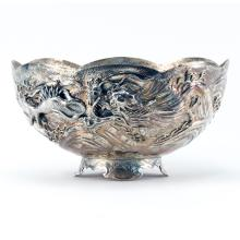Antique Japanese Sterling Silver High Relief Dragon  Bowl