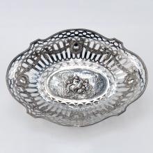 19th Century German 800 Silver Openwork Basket