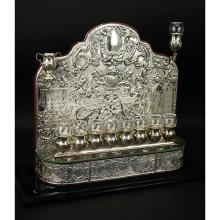 A Fine Sterling Silver Menorah On Lucite Stand With Cover