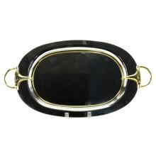 Vintage Gucci Italy Silver Plate and Brass Mounted Oval Tray