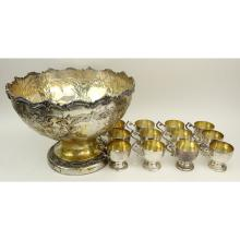Vintage Silver Plate Hand Chased Punch Bowl Set With 12 Cups