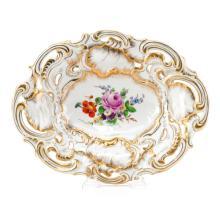 Antique Meissen Gilt Hand Painted Porcelain Pierced Bowl