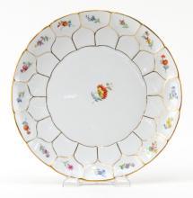 Antique Meissen Gilt and Floral Porcelain Plate
