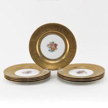 Set of Nine (9) Floral Decorated Gilt Rimmed Service Plates