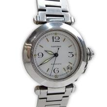 Man's Cartier Pasha Stainless Steel Automatic Movement Bracelet Watch