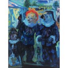 "Luigi Corbellini, French/Italian (1901-1968) Oil on Canvas ""Les Enfant de la Balle"" Signed Lower Left"