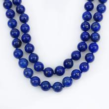Vintage Single Strand Lapis Lazuli Bead Necklace, white metal clasp