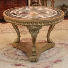 Modern Regency Style Giltwood Specimen Marble and Scagliola Center Table