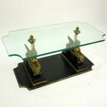 Mid Century Egyptian Revival Bronze, Wood, and Glass Top Coffee Table