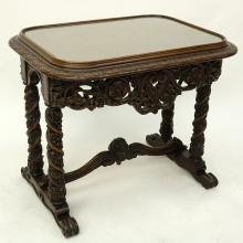 Italian Heavily Carved Wood  Occasional Table