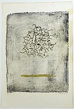 """Claire Falkenstein, American (1908-1998) Hand-colored collograph on Fabriano paper """"Two Rings""""."""