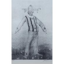 "Mario Gruber, Brazilian (born 1927) Lithograph ""Pierrot""."